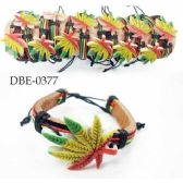 96 Units of Leather Bracelet with Large Marijuana - Jewelry Box