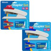 144 Units of BAZIC Comfort Grip Desktop Stapler Set - Staples and Staplers