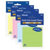 """144 Units of BAZIC 80 Ct. 3"""" X 3"""" Lined Stick On Notes - MEMO/NOTES/DRY ERASE"""