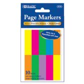"144 Units of BAZIC 100 Ct. 0.5"" X 1.75"" Neon Page Marker (10/Pack) - Dry Erase"