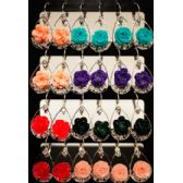 96 Units of Flower Shaped Dangling Earrings Assorted Color - Earrings