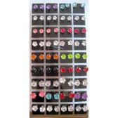 108 Units of Fashion Earring Studs with Display - Earrings