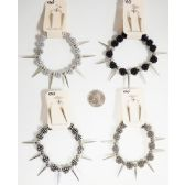 96 Units of Spike Earring Bracelet Set Assorted Colors - Earrings