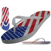 48 Units of Women's US Flag Print Flip Flops - Unisex Footwear