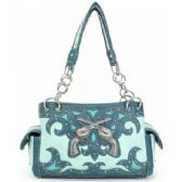 4 Units of Western Twin Gun Blue Purses w/ Conceal Weapon Pocket - Leather Purses and Handbags
