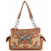 4 Units of Western Twin Gun Tan Purses w/ Conceal Weapon Pocket - Leather Purses and Handbags