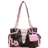 4 Units of Rhinestone Camo Buckle with Concealed Weapon Pocket - Leather Purses and Handbags
