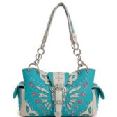 4 Units of Rhinestone Western Butterfly Purse Turquoise - Leather Purses and Handbags