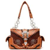 4 Units of Rhinestone Western Buckle Purse Brown - Leather Purses and Handbags