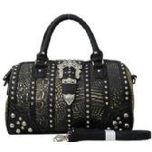 4 Units of Rhinestone Buck Bucket Purse Black - Leather Purses and Handbags