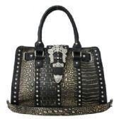 4 Units of Rhinestone Buckle Purse Black - Leather Purses and Handbags