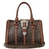 4 Units of Rhinestone Buckle Purse Brown - Leather Purses and Handbags