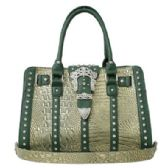 4 Units of Rhinestone Buckle Purse Green - Leather Purses and Handbags