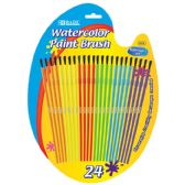 48 Units of BAZIC Kid's Watercolor Paint Brush (24/Pack)