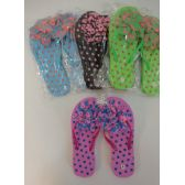 48 Units of Ladies Polka Dot Flip Flops with Large Ruffled Flower