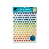 144 Units of Iron-On Foil Rainbow Hearts Transfers Set - Stickers