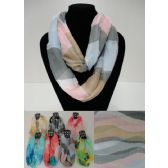 12 Units of Light Weight Infinity Scarf [TriColor Pastel] - Womens Fashion Scarves