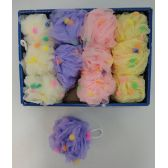 36 Units of Mesh Bath Sponge with PomPoms - Loofahs & Scrubbers