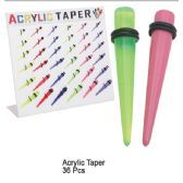 108 Units of ACRYLIC EAR TAPER
