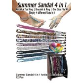 72 Units of SUMMER SANDAL 4 IN 1 ANKLETS & BRACELETS