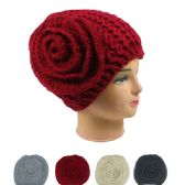 72 Units of WOMAN WINTER HAT WITH ROSE ASSORTED COLORS - Winter Hats