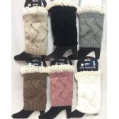 24 Units of Solid Color Knitted Boot Topper with Crochet Top - Womens Leg Warmers