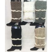 24 Units of Solid Color Knitted Boot Topper with Double Crochet Top - Womens Leg Warmers