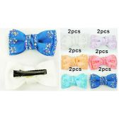 96 Units of Rhinestone Bowtie Hair Clip Assorted Colors - Hair Accessories