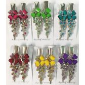 96 Units of Metal Hair Clip Rhinestone Flower Design - Hair Accessories
