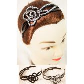 96 Units of Floral Rhinestone Headbands - Headbands