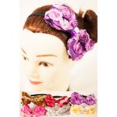 96 Units of Large Satin Fabric Bow Headbands - Headbands