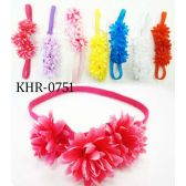 96 Units of Bright Color Flower Headband Assorted - Headbands