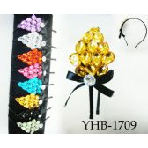 96 Units of Large Rhinestone with Bow Headband Assorted - Headbands