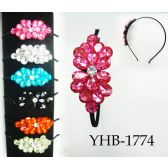 96 Units of Large Rhinestone Flower Design Headband Assorted - Headbands