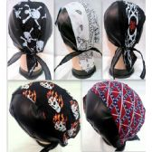 72 Units of Skull caps motorcycle hats fabric & leather assorted - Bandanas