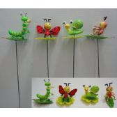 144 Units of Springing Yard Stake [Insects on Leaves Assortment] - Garden Decor