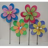 "36 Units of 16"" Double Wind Spinner [Pastel Petals & Bug Assortment] - Garden Decor"