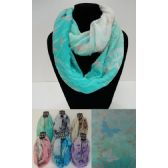 12 Units of Extra-Wide Light Weight Infinity Scarf [Butterflies & Leaves] - Womens Fashion Scarves