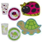 144 Units of Dinnerware Kids Melamine Diecut Plate/bowl/glitter Cup 144pc Floor Display Turtle/ladybug - Plastic Bowls and Plates