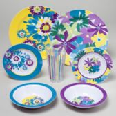 144 Units of Dinnerware Melamine Floral Spring Bouquet 144pc Flr Display 48pc Bowl/plate 24pc Tmblr/dsrt - Plastic Bowls and Plates