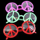 12 Units of Peace Sign Eye Glasses - Assorted - Costumes & Accessories
