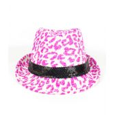 48 Units of Leopard Print Neon Fedora - Pink - Costumes & Accessories