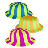 30 Units of Striped Neon Derby Hats - Assorted 12ct - Costumes & Accessories