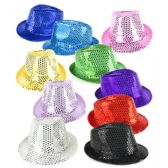 4 Units of Sequin Fedoras - Assorted 12ct - Costumes & Accessories