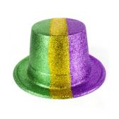 30 Units of Mardi Gras Glitter Top Hats - 12ct - Costumes & Accessories