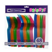 24 Units of Assorted Neon Cutlery Set - 48ct - LED Party Supplies