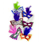 288 Units of Feather Masks Assorted 12ct - LED Party Supplies