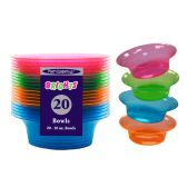 12 Units of Assorted Neon 10oz Bowls - 20ct - LED Party Supplies