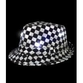 48 Units of LED Sequin Checkered Fedora - LED Party Supplies