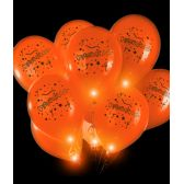 50 Units of LED 14 Inch Blinky Balloons Congratulations - Orange - LED Party Supplies